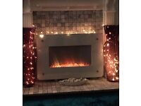 White Glass electric fire wall mounted heater