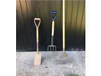 Gardening spade rake and fork