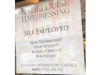 Self employed hairdressers, beauticians, makeup artists, nail technitions. New salon in Warrington