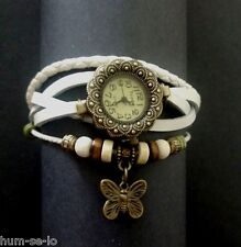 ROUND DIAL FLOWER DESIGN VINTAGE BRACELET WATCH FOR WOMEN - WHITE