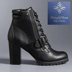 NEW PINTAIL ANKLE BOOTS WOMENS 7.5 3182021 244442500 SimplyVera Vera Wang High Heel Shoes Black