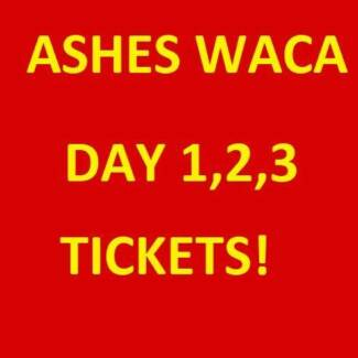 1-6 ASHES PERTH WACA TICKETS DAY 1, 2 AND 3