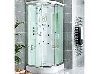 Quadrant Shower Cabin Enclosure with Monsoon Head and 8 Body Jets, White and Silver - 900mm