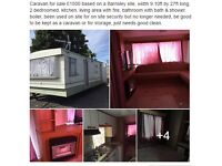 Caravan for sale £1650 based on a Barnsley site, width 9.10ft by 27ft long,