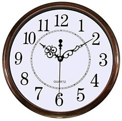 Wall Clock Silent Non-Ticking 12 inch Round Classic Clock Retro Quartz
