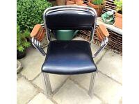 Swedish Mid Century Chrome Teak Designer Stacking Chairs x 4 by Rosengren Hansen