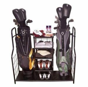 NEW 2 Bag Golf Organizer Metal Storage Rack and Equipment Holder