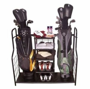 NEW 2 Bag Golf Organizer Metal Storage Rack and Equipment Holder