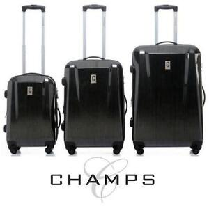 NEW 3PC CHAMPS  SPINNER LUGGAGE SET SWISS Collection 3 Pcs Spinner Set - Hardside SUITCASE LUGGAGE SPINNER BLACK
