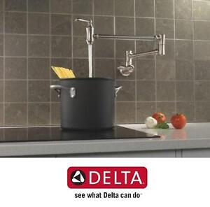 NEW DELTA FAUCET POT-FILLER FAUCET WALL MOUNT - STAINLESS SS KITCHEN HOME 102967896