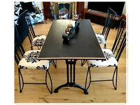 Stunning Pub Cast Iron Diner Table and Four Contemporary Chair - Free Delivery