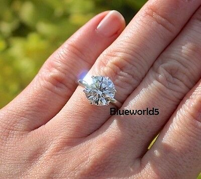 3.50CT Near White Round Moissanite Solitaire Engagement Ring 14K White Gold
