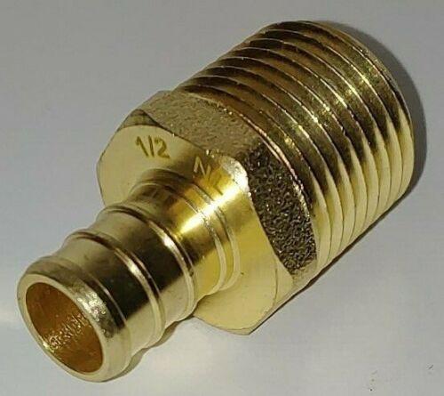 "Lot of (10) 1/2"" Pex x 1/2"" Male MPT Threaded Adapters - Lead Free Brass"
