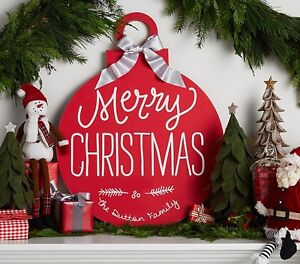 Pottery Barn Rustic Merry Christmas Plaque