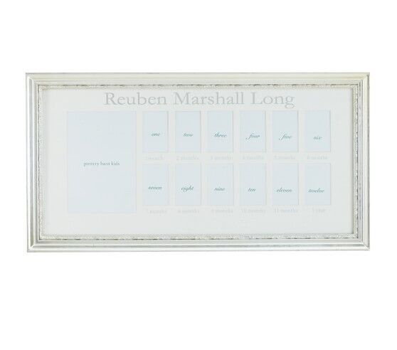 New Pottery Barn Kids First Year Frame, Silver Leaf Wood *No Mat*