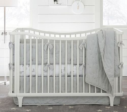 """Pottery Barn Kids Light Gray Star Embroidered Crib Skirt 26"""" x 49"""" x 16"""" Finely"""