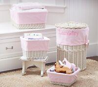PBK Pottery Barn Kids Pink Gingham SABRINA Basket Liners MED x2