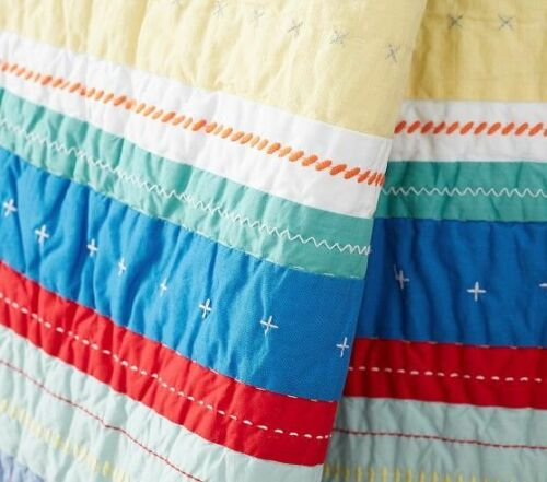 Pottery Barn Kids Merry and Bright Stripe Toddler Quilt Navy
