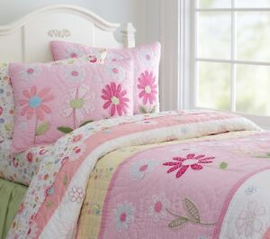 Pottery Barn Kids Daisy Garden pink valances and quilt