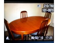 Dinning table and chairs solid teak