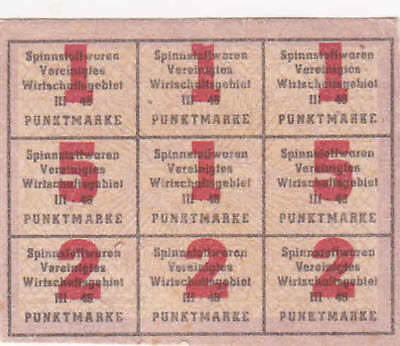 Punktemarke 1948 Spinnstoffwaren Besatzung Vereinigtes Wirtschaftsgebiet