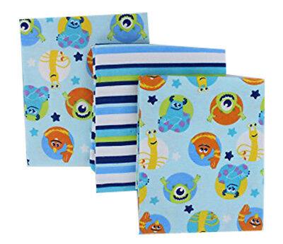 Disney Baby Monsters 3-Pack Receiving Blanket -Baby  Flannels -Discontinued
