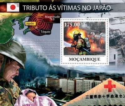 Mozambique - Japan Tsunami Victims, Red Cross,  Stamp S/S 13A-553