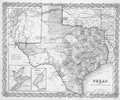 1856 TEXAS MAP TX Bastrop Bay City Baytown Beaumont Bedford Beeville History BIG