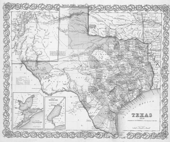 1856 TEXAS MAP TX Waxahachie Weatherford Webster Wells Branch Weslaco White Oak