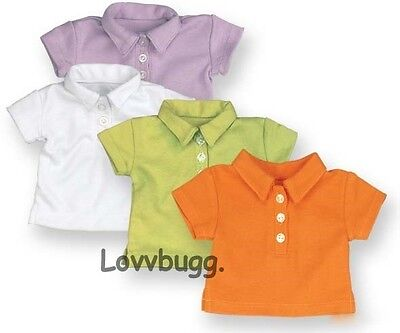 "Lovvbugg Lime Green Polo T Shirt Top for 18"" American Girl or Boy or Baby Doll Clothes"