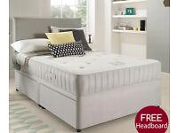 NEW 4FT6 Double SUEDE DIVAN BED SET + MEMORY MATTRESS + HEADBOARD