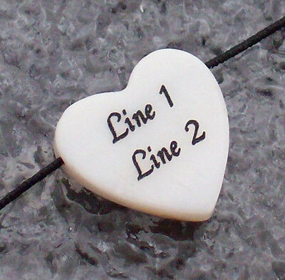 1 - Personalized White Mother-of-pearl Heart Shell Bead