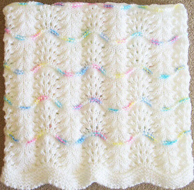 NEW Handmade WHITE Knit Crochet BABY Afghan Blanket Infant Soft Newborn