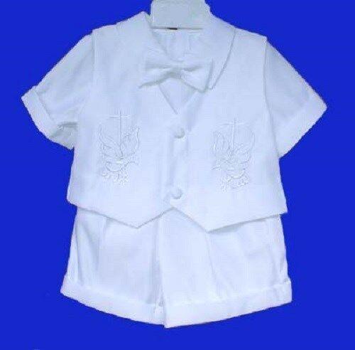 4PCS WHITE SHORT SET WEDDING CHRISTENING BAPTISM RING BOY BABY INFANT 6M to 24M