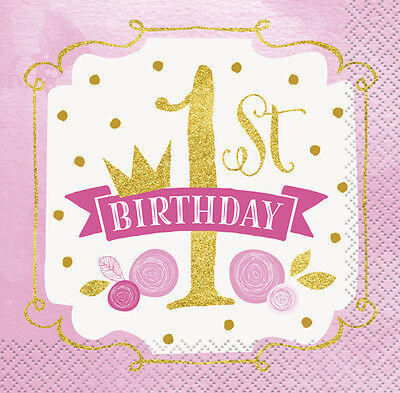 1st BIRTHDAY Pink and Gold SMALL NAPKINS (16) ~ First Party Supplies Serviettes  - First Birthday Napkins
