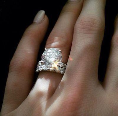 - Certified 5.15 Ct Round Cut Diamond Engagement Wedding Ring Set 14K White Gold