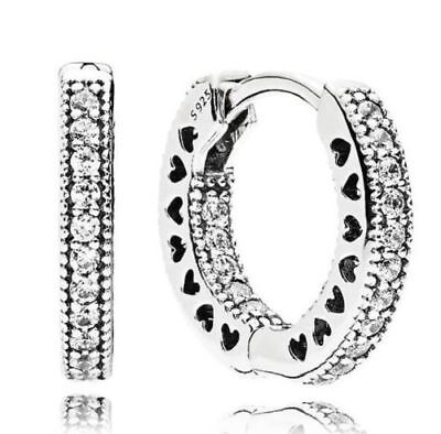 NEW! AUTHENTIC PANDORA EARRINGS HEARTS OF PANDORA HOOPS #296317CZ  P