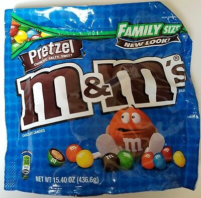 NEW Sealed Pretzel M&M's Family Size 15.40 oz Bag FREE WORLDWIDE SHIPPING
