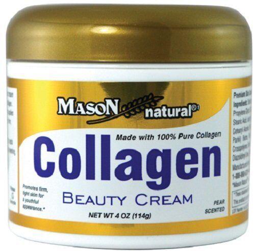 Mason Natural Collagen Beauty Cream 100% Pure Collagen Pear Scent, 4-Ounce Jars