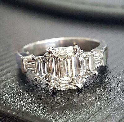2.50 Ct Emerald Cut Diamond Engagement Ring Baguette & Trapezoid H, VS1 GIA 18K