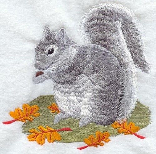 Large Embroidered Zippered Tote - Grey Squirrel H1565
