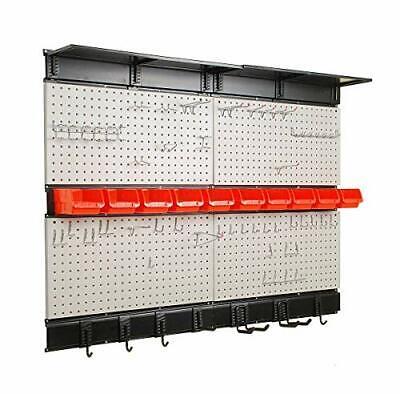 Garage Storage 48x36 Inch Pegboard With Hooks Bins Tool Board Panel Organizer