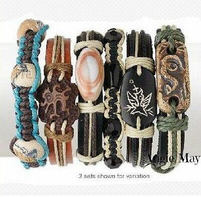 (Wholesale 12 Leather and Hemp Surfer Bracelets)