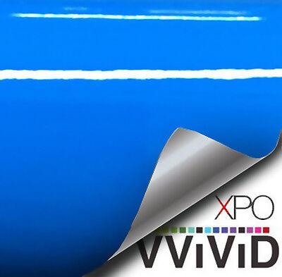 "Vvivid 3Mil 3"" x 4"" sample Smurf Blue gloss vehicle wrapping vinyl"