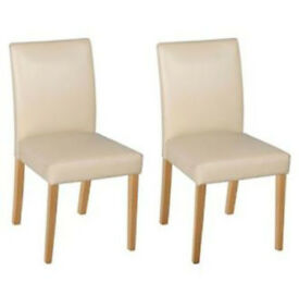 HOME Pair of Leather Effect Mid Oak Chairs - Cream Oak