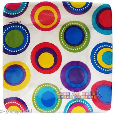 RAINBOW POLKA DOTS SMALL PAPER PLATES (8) ~ Birthday Party Supplies Cake Dessert](Rainbow Birthday Plates)