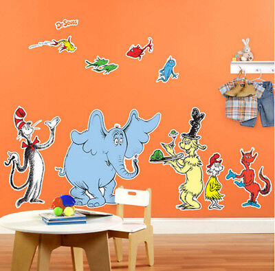 DR. SEUSS CAT IN HAT Giant Wall Stickers 10 decals MURALS Horton Fish Fox Sam](Dr Seuss Giant Wall Decals)