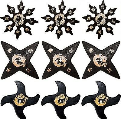 Ninja Martial Arts Rubber Foam Throwing Stars Practice Shuriken - Star Set of 9