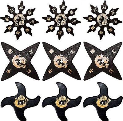 Ninja Martial Arts Rubber Foam Throwing Stars Practice Shuriken - Star Set of 9