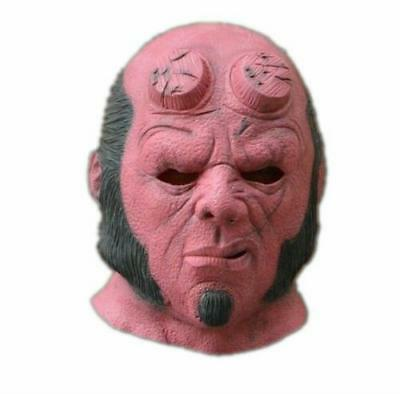 Halloween Hellboy Mask Realistic Silicone Latex Hood Head Face Masks Costume New - Halloween Silicone Face Masks